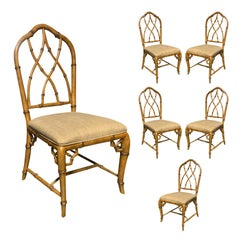 Set of Six American Faux Bamboo Dining Side Chairs, circa 1970s