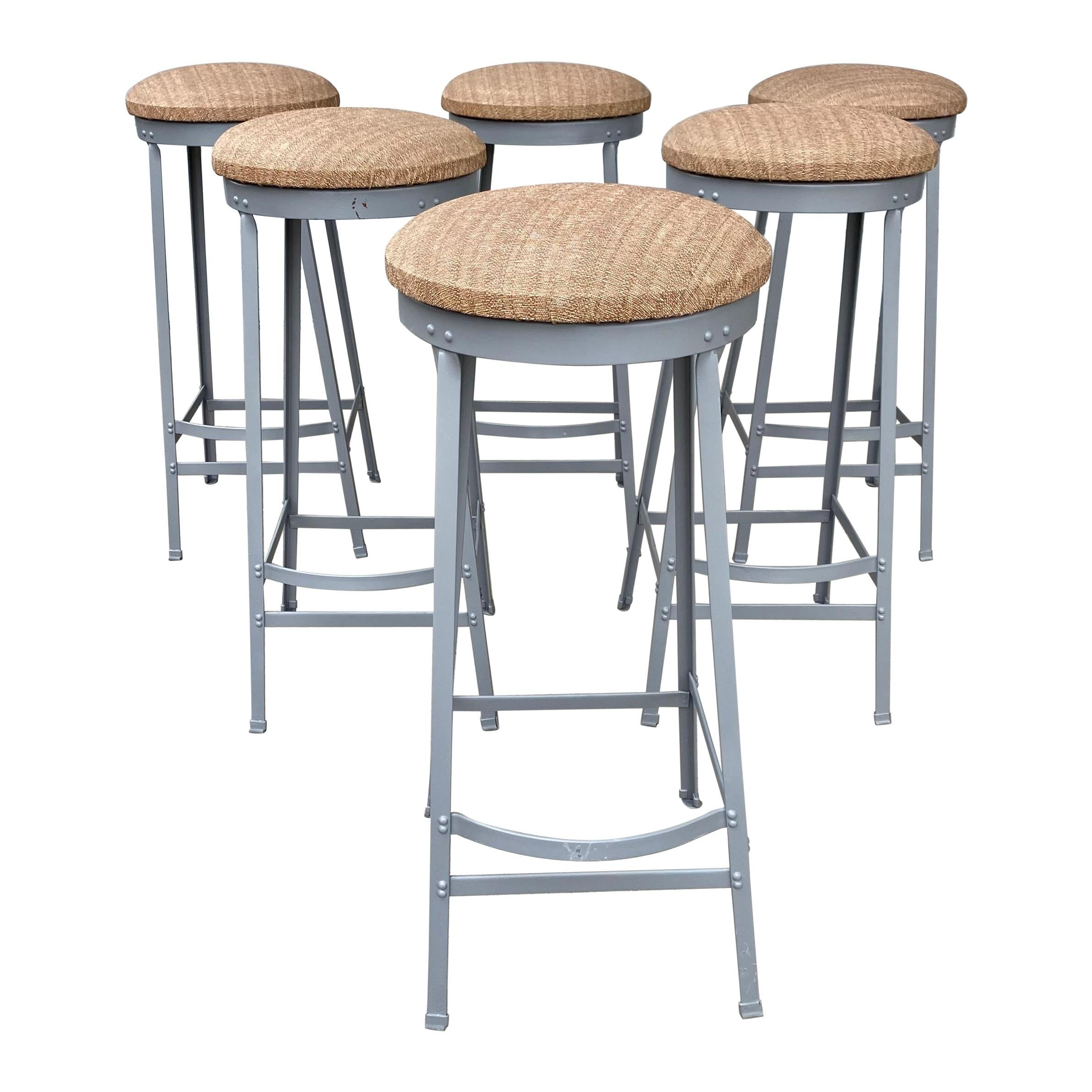 Set of Six American Industrial Bar Stools, Attributed to Toledo Metal Furniture