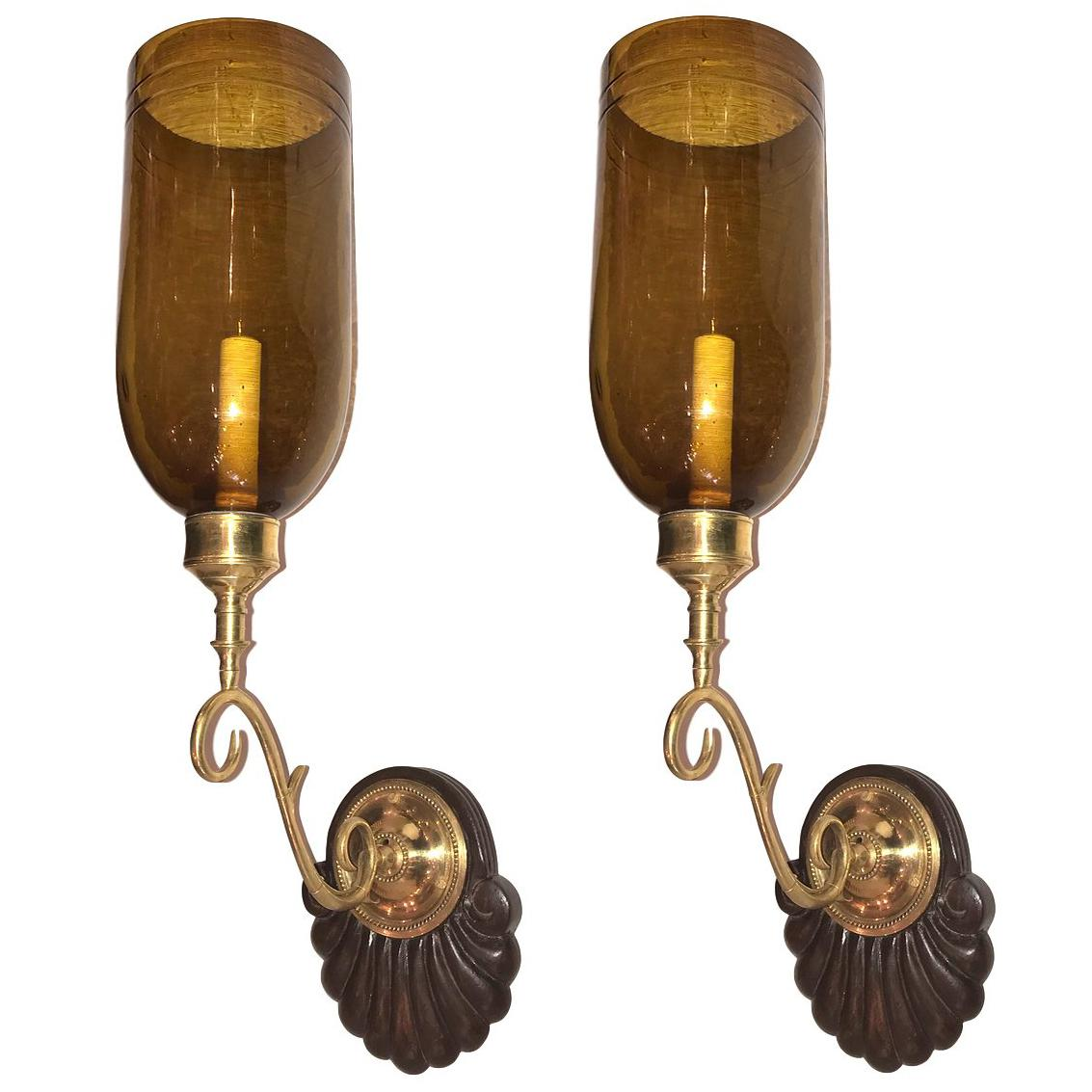 Set of Six Anglo Indian Amber Glass Sconces