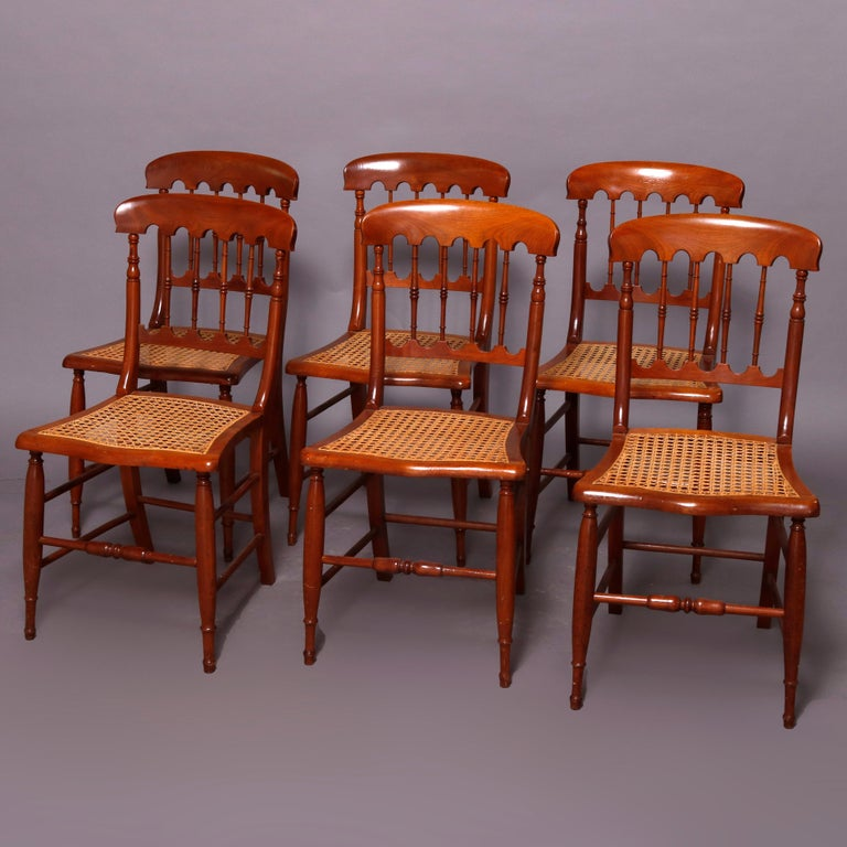 Set of Six Antique Chestnut Spindle Back Dining Chairs ...