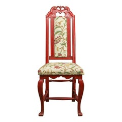 Set of Six Antique Dining Chairs, Continental Painted Kitchen, Needlepoint