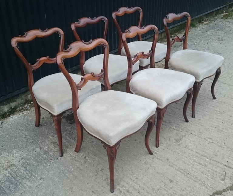 British Set of Six Antique Dining Chairs For Sale