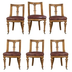 Set of Six Antique Dining Chairs, Scottish Ash Leather, Aesthetic Movement