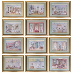 Set of Six Antique French Interior Decor Prints