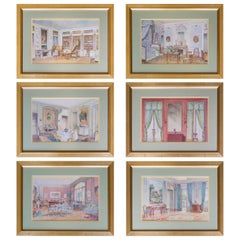 Set of Six Antique French Interior Decor Prints