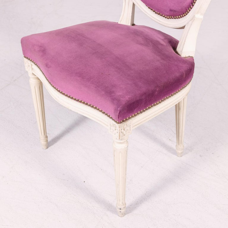 Set of Six Antique French Louis XVI Style Painted Side Chairs with Medallion Bac For Sale 7