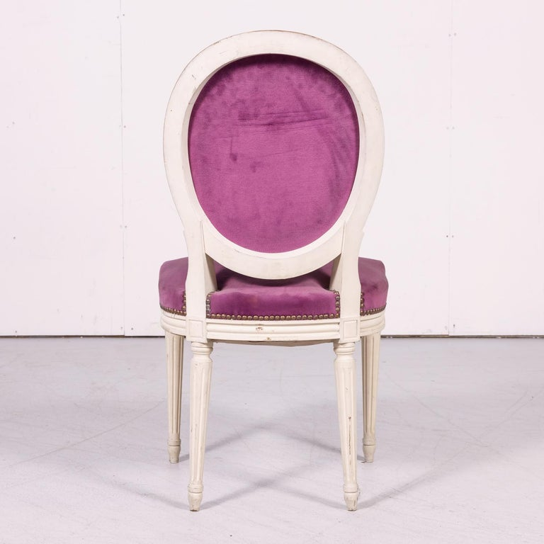 Set of Six Antique French Louis XVI Style Painted Side Chairs with Medallion Bac For Sale 11