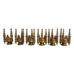 Set of Six Antique Gothic Revival Gilt Bronze Church Finial Candleholders