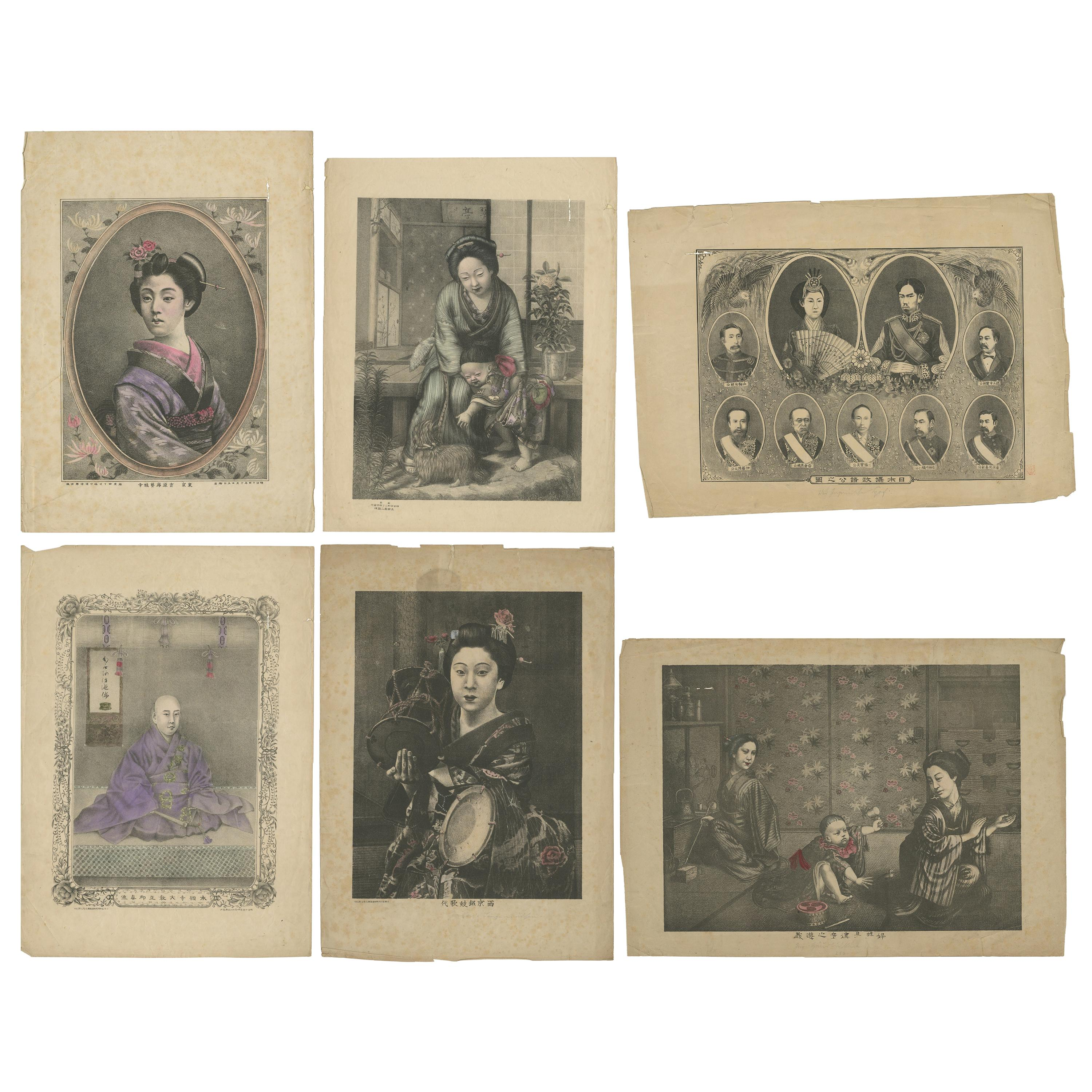 Set of Six Antique Lithographs with Japanese Figures and Scenes, circa 1880