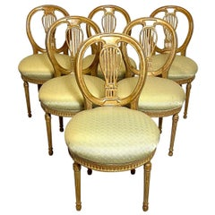 Set of Six Antique Louis XVI Balloon Back Dining Chairs with Silk Seat Cushions