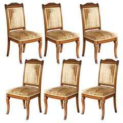Set of Six Antique Mahogany Dining Chairs, Mid-19th Century