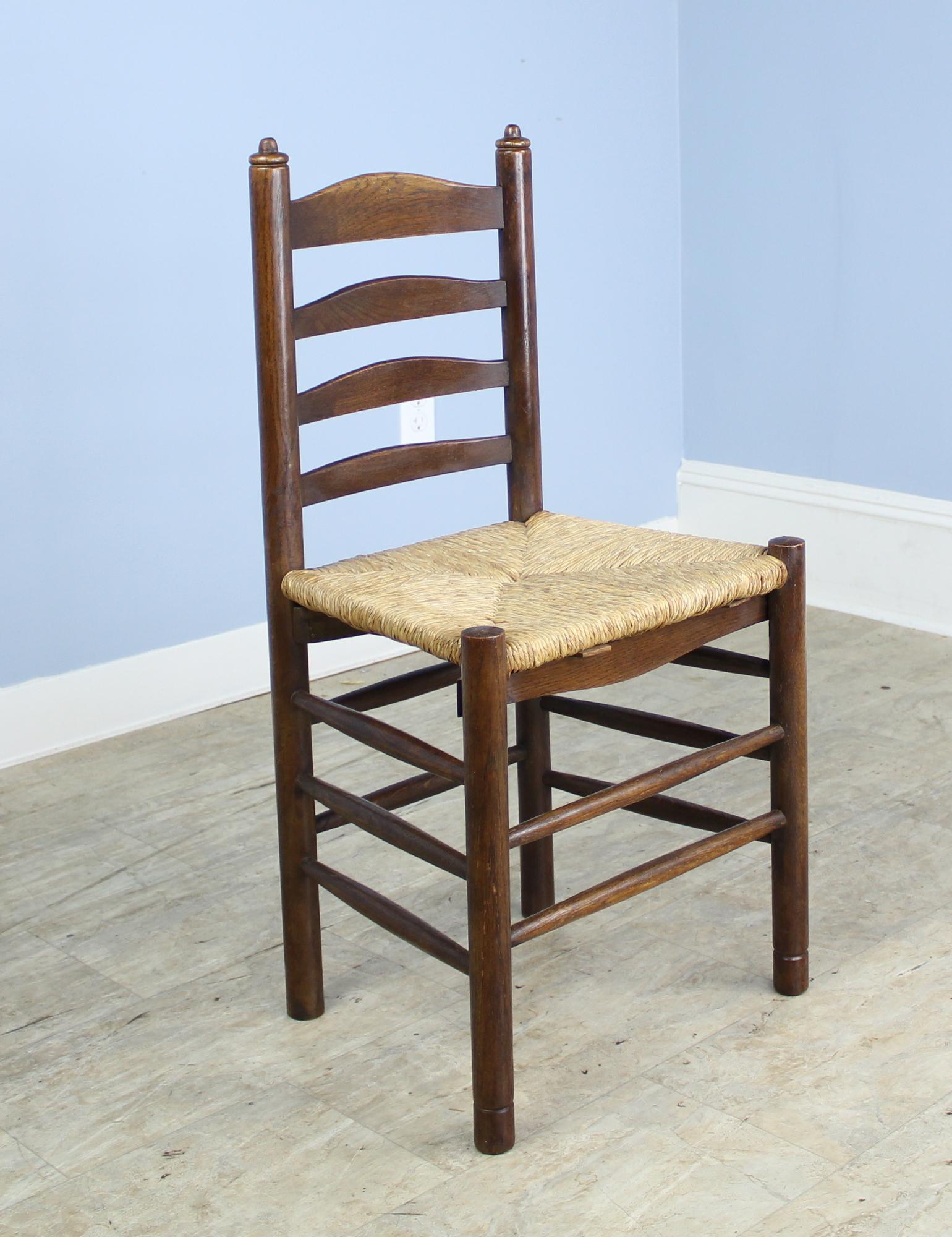 Set of Six Antique Oak Church Chairs