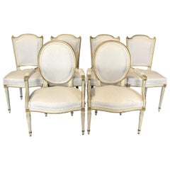 Set of Six Antique Painted Louis XVI Gustavian Style Dining Chairs