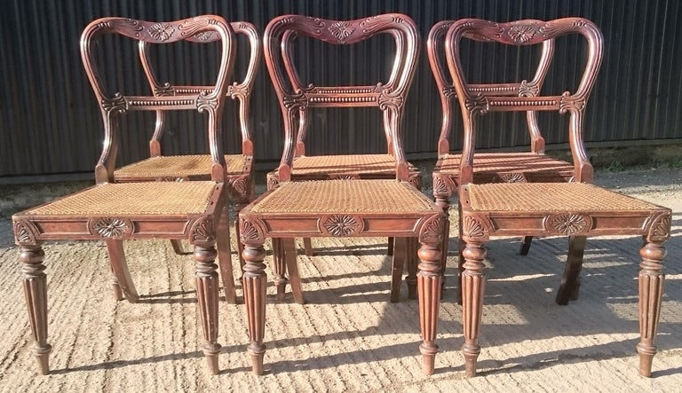 British Set of Six Antique Regency Chairs Made by Gillow of Lancaster and London For Sale