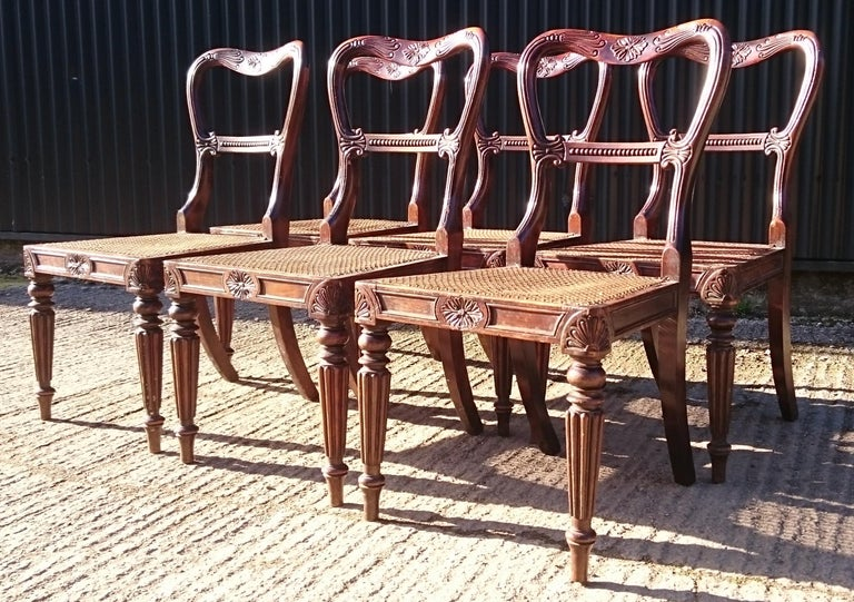 Beech Set of Six Antique Regency Chairs Made by Gillow of Lancaster and London For Sale