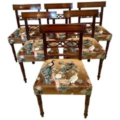 Set of Six Antique Regency Inlaid Mahogany Dining Chairs