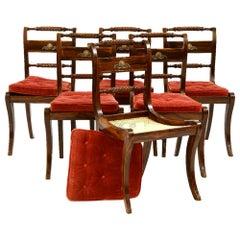 Set of Six Antique Regency Klismos Dining Chairs