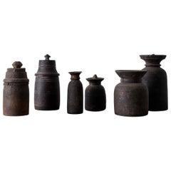 Set of Six Antique Tibetian Thaki Jars