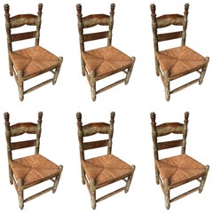 Set of Six Antique Wood Chairs found in Zacatecas, México, circa 1900