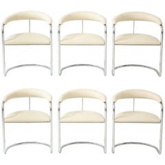 Set of Six Anton Lorenz for Thonet Chrome Chairs