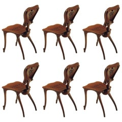 Set of Six Antoni Gaudi Calvet Chair in Solid Varnished Oak