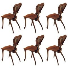 Set of Six Antoni Gaudi Calvet Chair in Solid Varnished Oak