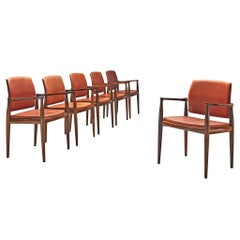 Set of Six Armchairs in Hardwood and Upholstery