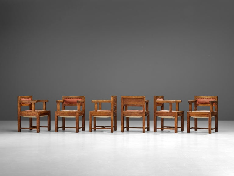 Set of Six Armchairs in Mahogany and Red Fabric Upholstery, 1930s For Sale 3