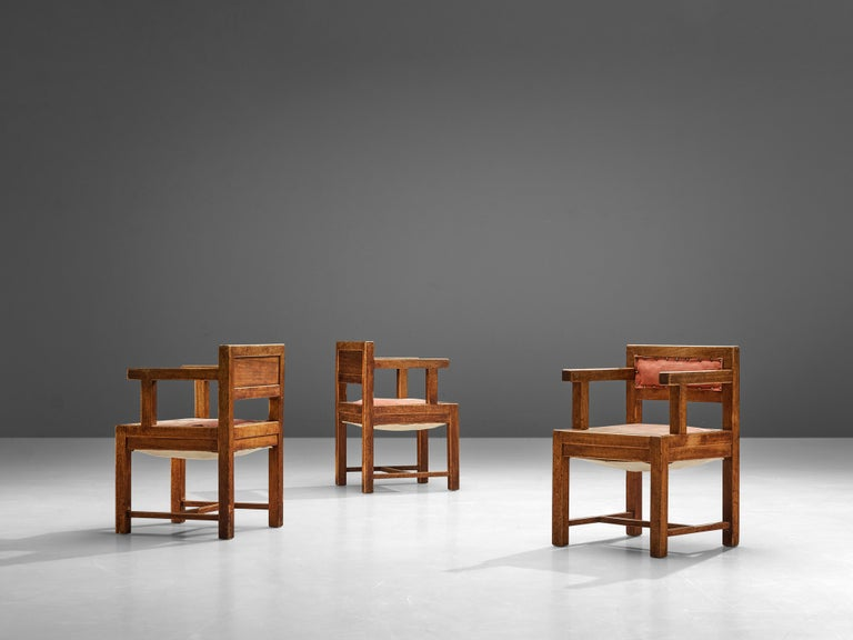 Set of Six Armchairs in Mahogany and Red Fabric Upholstery, 1930s For Sale 4