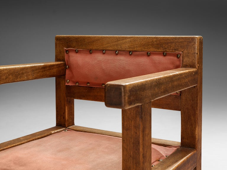 Art Deco Set of Six Armchairs in Mahogany and Red Fabric Upholstery, 1930s For Sale
