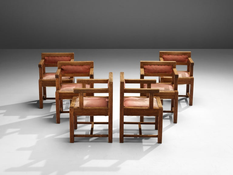 Mid-20th Century Set of Six Armchairs in Mahogany and Red Fabric Upholstery, 1930s For Sale