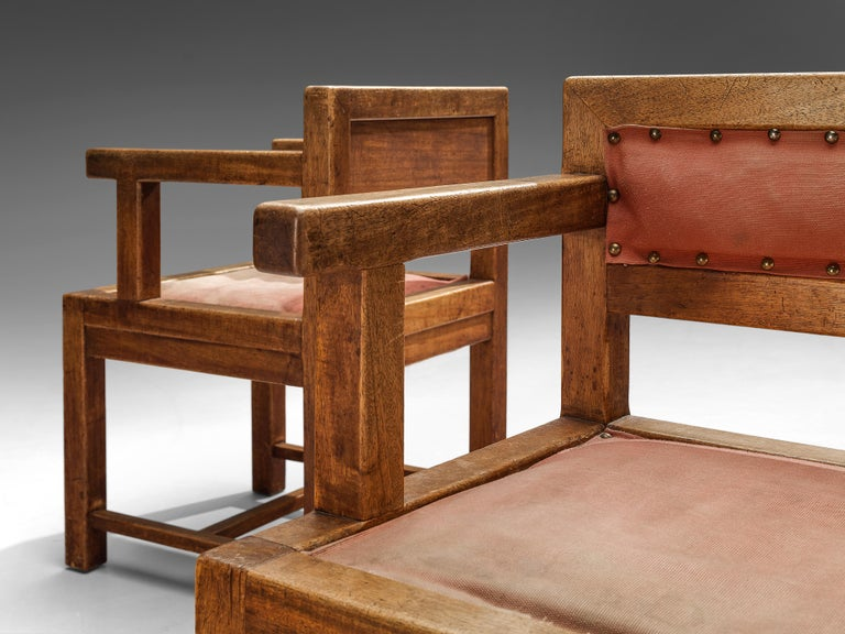 Brass Set of Six Armchairs in Mahogany and Red Fabric Upholstery, 1930s For Sale