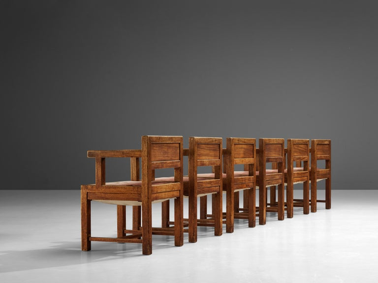 Set of Six Armchairs in Mahogany and Red Fabric Upholstery, 1930s For Sale 1