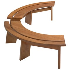 Pierre Chapo, pair of 'S38A' benches, solid elm, France, 1960s