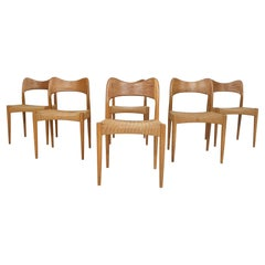 Set of Six Arne Hovmand Olsen for Mogens Kold, Papercord Dining Chairs, Denmark
