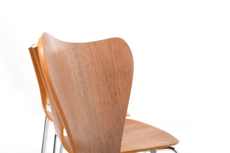 set of six arne jacobsen chairs in teak series 7 at 1stdibs