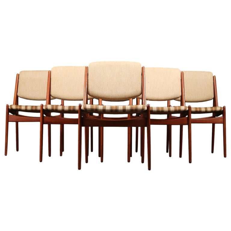 "Set of Six Arne Vodder ""Ella"" Danish Modern Dining Chairs in Teak For Sale"