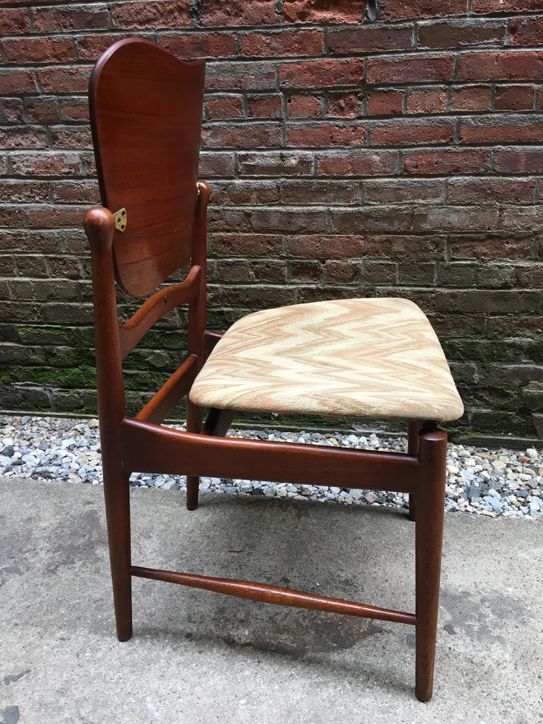 Set of Six Arne Vodder Teak and Cane Back Dining Chairs For Sale 4