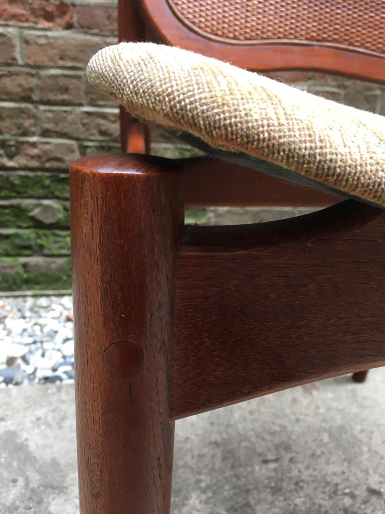 Set of Six Arne Vodder Teak and Cane Back Dining Chairs For Sale 8