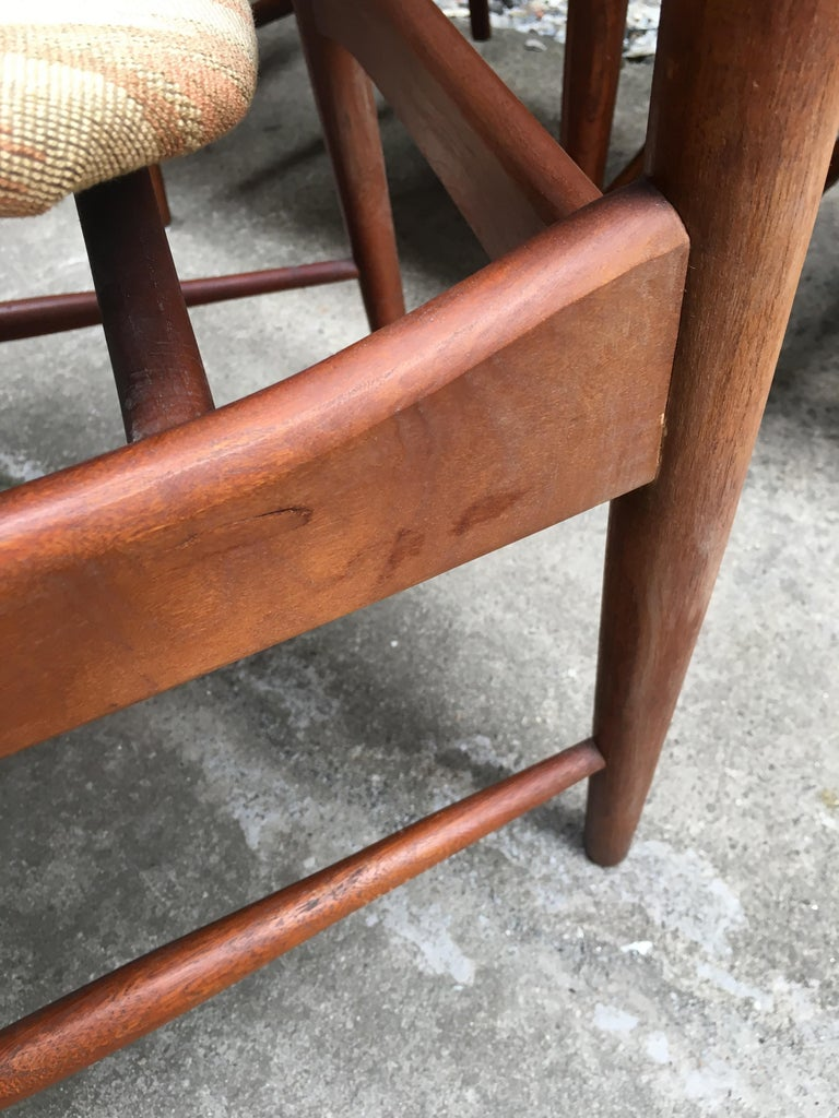 Set of Six Arne Vodder Teak and Cane Back Dining Chairs For Sale 11
