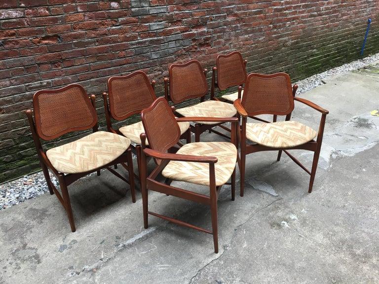 Scandinavian Modern Set of Six Arne Vodder Teak and Cane Back Dining Chairs For Sale