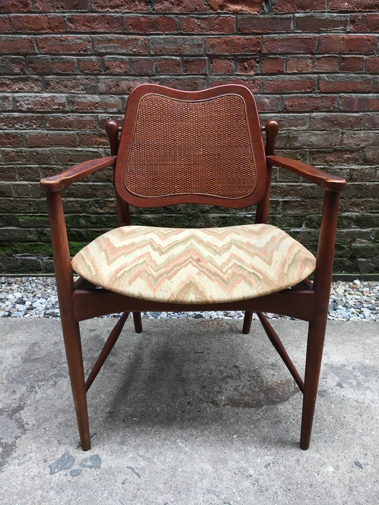 Danish Set of Six Arne Vodder Teak and Cane Back Dining Chairs For Sale