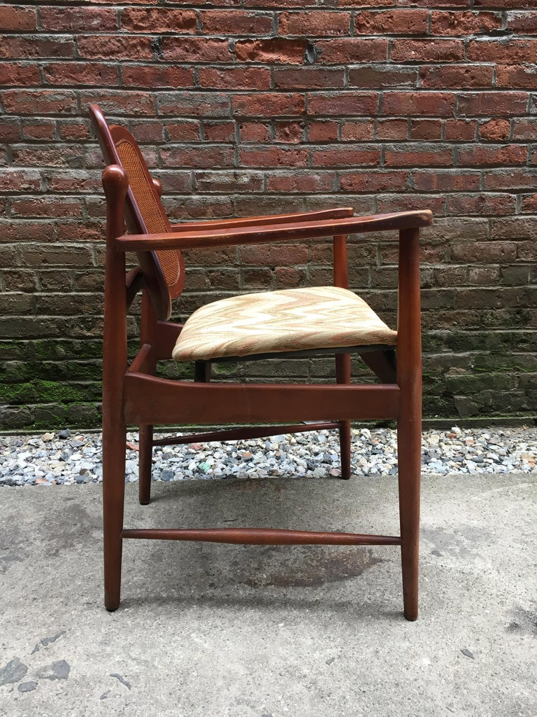 Set of Six Arne Vodder Teak and Cane Back Dining Chairs In Good Condition For Sale In Garnerville, NY