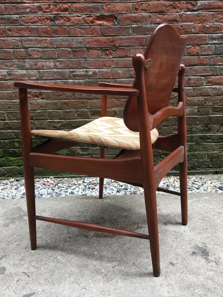 Upholstery Set of Six Arne Vodder Teak and Cane Back Dining Chairs For Sale