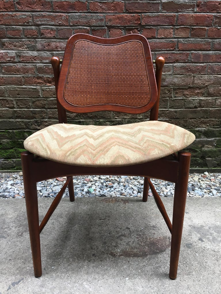 Set of Six Arne Vodder Teak and Cane Back Dining Chairs For Sale 1