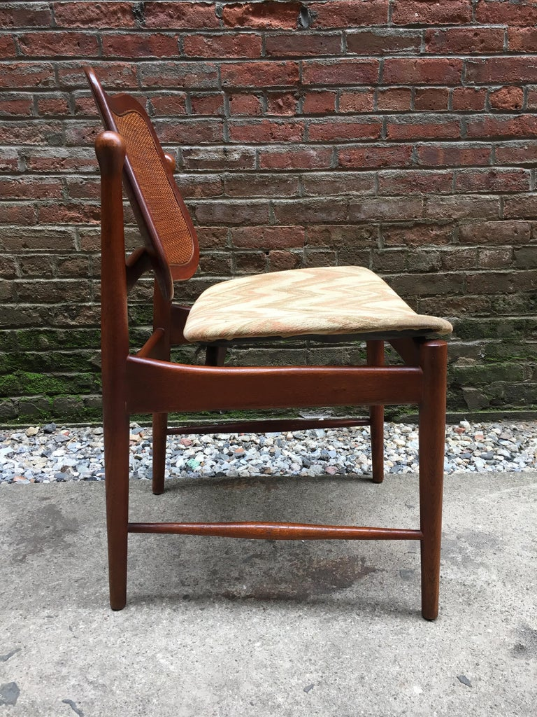 Set of Six Arne Vodder Teak and Cane Back Dining Chairs For Sale 2