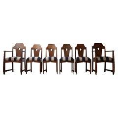 Set of Six Art Deco Amsterdam School Dining Chairs '6'