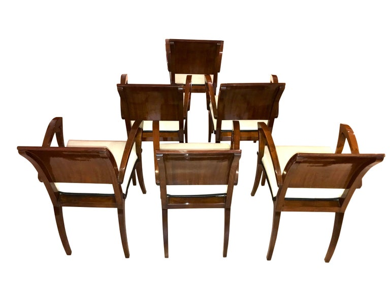French Set of Six Art Deco Armchairs, Rosewood and Beech, France, circa 1925 For Sale