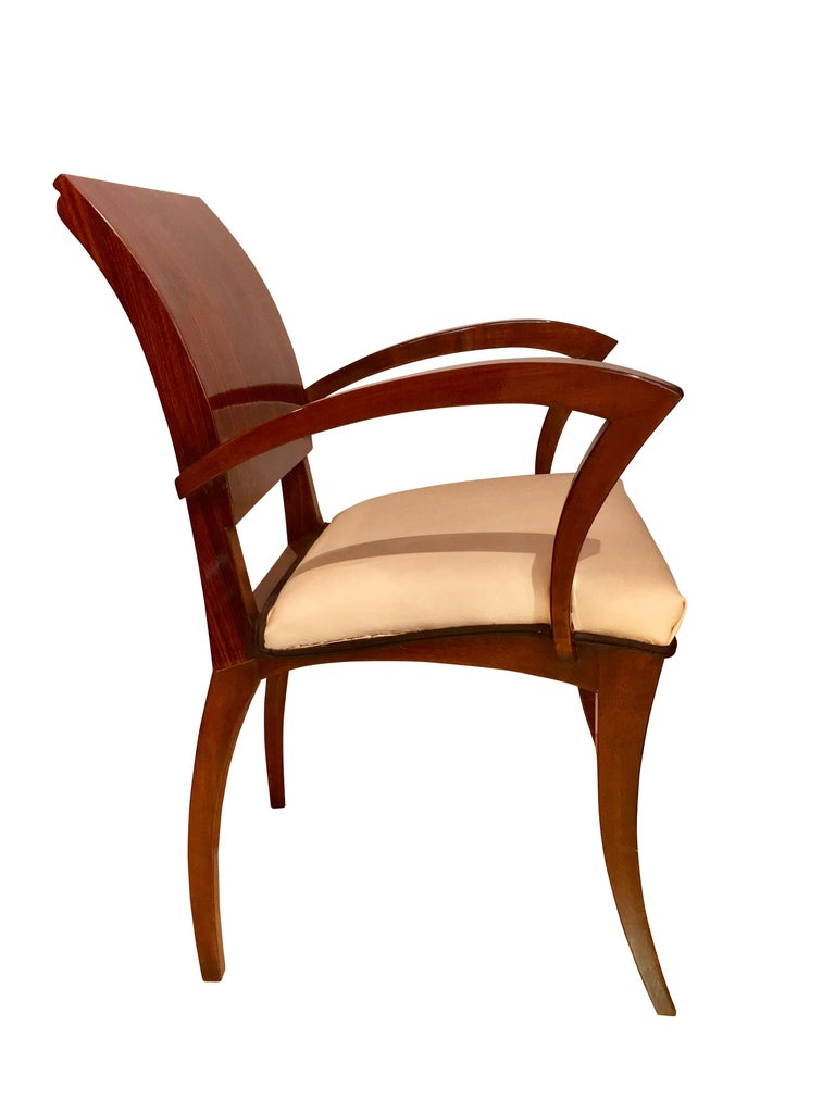Veneer Set of Six Art Deco Armchairs, Rosewood and Beech, France, circa 1925 For Sale
