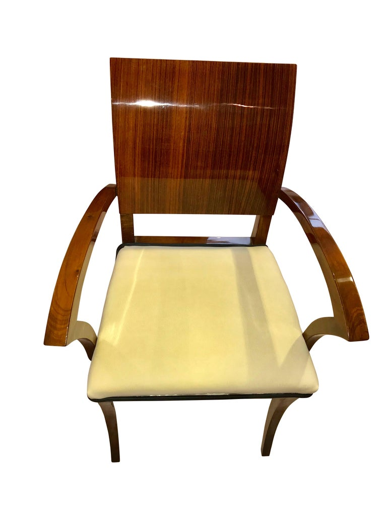 Early 20th Century Set of Six Art Deco Armchairs, Rosewood and Beech, France, circa 1925 For Sale